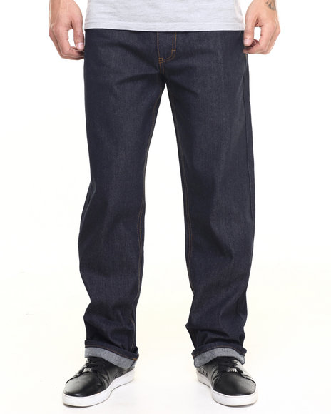 Akademiks Men Monroe Raw Denim Jeans Dark Indigo 32x32
