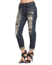 Women - Heavy Rips Denim Boyfriend Jean