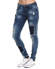 Women - Patchwork Denim Skinny Jean