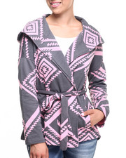 Women - Aztec Print French Terry Hooded Poncho