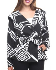 Light Jackets - Aztec Print French Terry Hooded Poncho