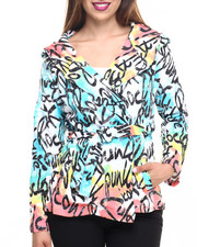 Women - Grafitti Print French Terry Hooded Poncho