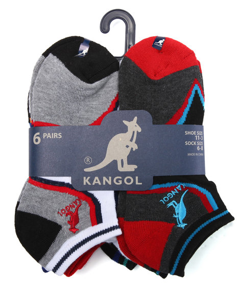 Kangol Boys Arch Support 6 Pk Athletic No Show Socks Multi 6-8