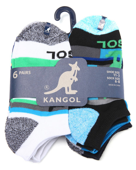 Kangol Boys Kangol Stripe 6 Pk Athletic No Show Socks Multi 6-8