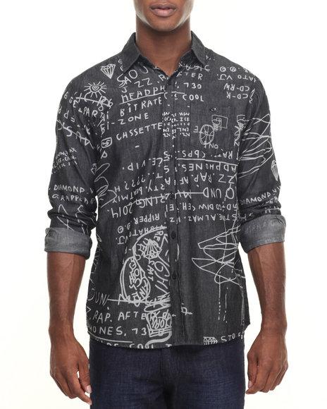 Akademiks Men Skyhawk Denim Scribble Print Button Down Shirt Black X-Large