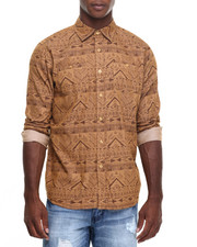 Akademiks - Aztec denim print button down shirt
