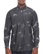 Akademiks - Shadow Paint Splatter denim button down shirt