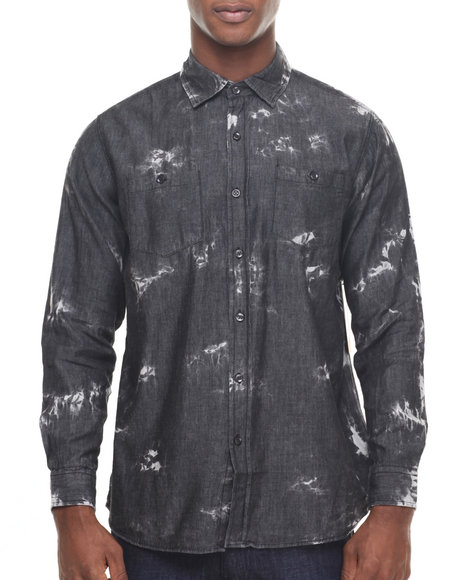 Akademiks - Men Black Shadow Paint Splatter Denim Button Down Shirt
