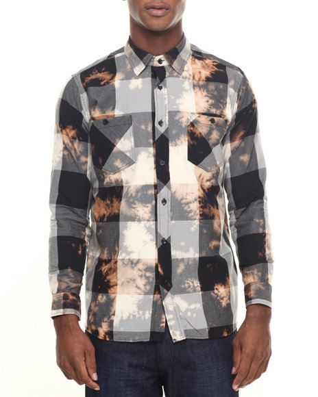 Akademiks - Men Grey Viking Buffalo Plaid Spot Bleach Button Down Shirt
