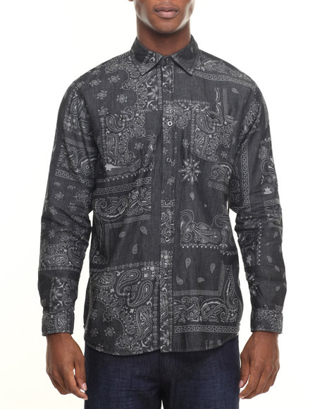 Akademiks - Men Black Tracker Bandana Print Denim Button Down Shirt