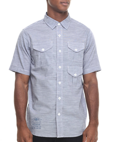 Rocawear Men Dipped S/S Button-Down Blue Large