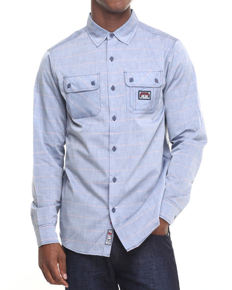 Rocawear - Men Blue Kent Ave Chambray L/S Button-Down