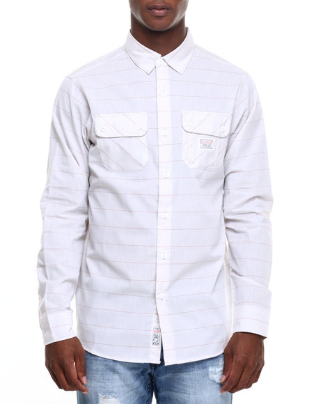 Rocawear - Men Light Grey Kent Ave Chambray L/S Button-Down