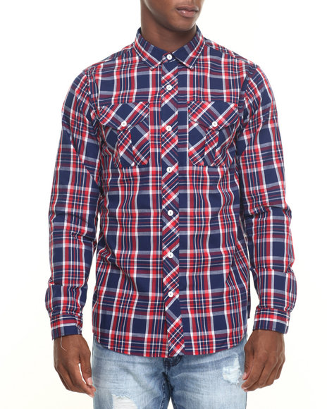 Rocawear - Men Navy Fall Madras L/S Button-Down