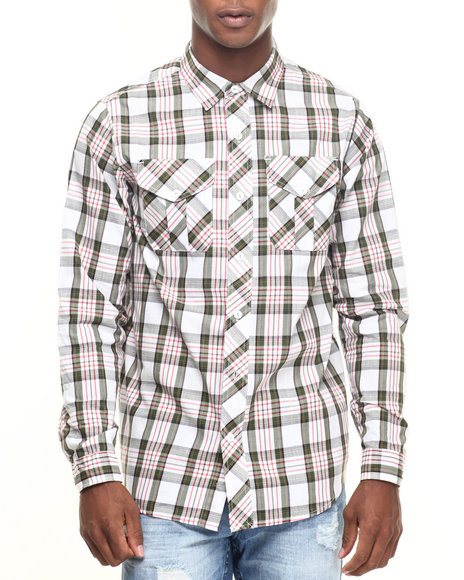 Rocawear - Men Cream,Olive Fall Madras L/S Button-Down