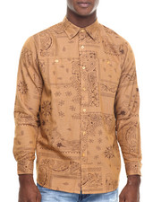Akademiks - Tracker Bandana print denim button down shirt