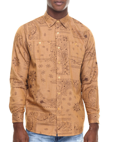 Akademiks - Men Wheat Tracker Bandana Print Denim Button Down Shirt