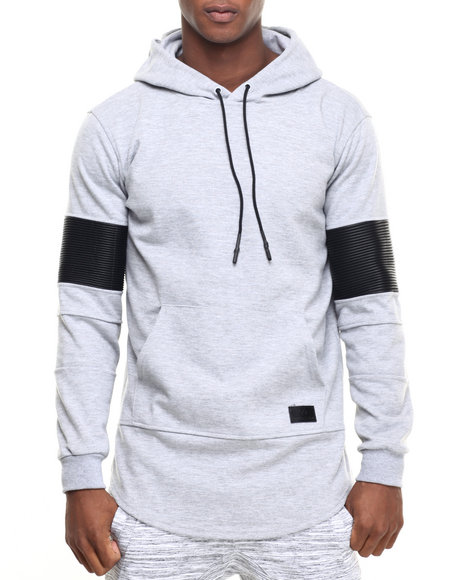 Hudson Nyc - Men Grey H D S N Ribbed Sleeve Pullover Hoodie