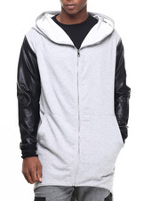 Hoodies - Fishtail Faux Leather - Sleeve Zip - Up Hoodie