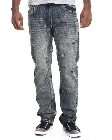 Basic Essentials - Men Medium Wash Thick Stitch Denim Jeans