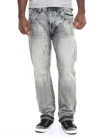 Basic Essentials - Men Medium Wash Thick - Stitch Flap - Pocket Denim Jeans