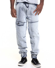 Basic Essentials - Dirty Wash Denim Joggers