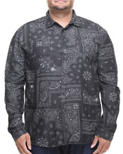 Akademiks - Tracker Bandana Print Denim Button Down Shirt (B&T)