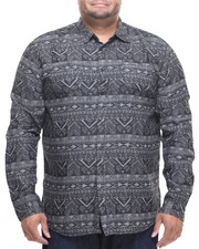 Akademiks - Aztec Denim Print Button Down Shirt (B&T)