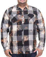 Akademiks - Viking Buffalo plaid spot bleach button down shirt (B&T)