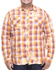 Akademiks - Checker Plaid Spot bleach button down shirt (B&T)