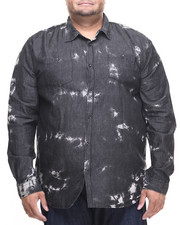 Akademiks - Shadow Paint Splatter denim button down shirt (B&T)