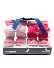 Girls - Giftable 4-Pk Infant Booties (0-12 mths)