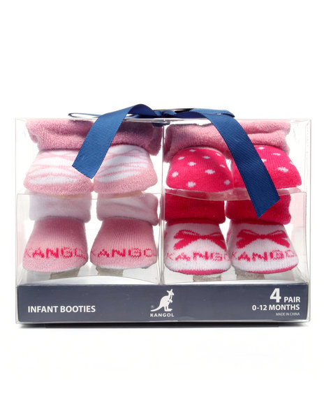 Kangol Girls Giftable 4-Pk Infant Booties (0-12 Mths) Pink 0-12 Mos