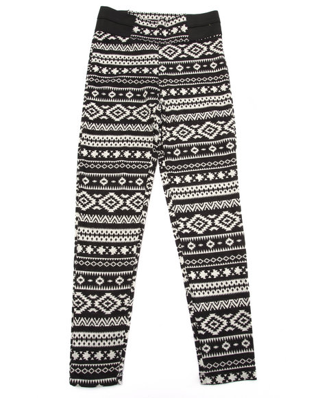 La Galleria - Girls Black Aztec High Waist Leggings (7-16)