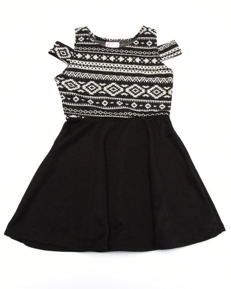 La Galleria Girls Aztec Dress (7-16) Black 7