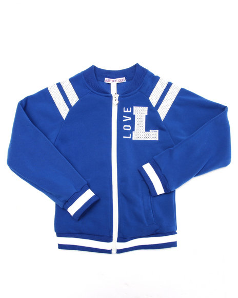 La Galleria - Girls Blue Varsity Love Baseball Jacket (7-16)