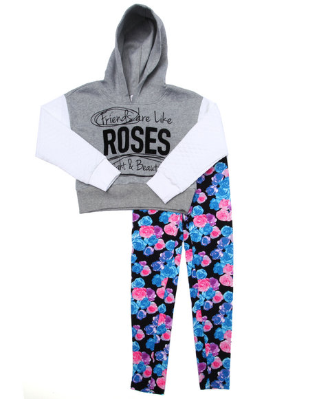 La Galleria - Girls Grey 2 Pc Roses Cropped Hoody & Leggings Set (7-16)