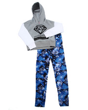 La Galleria - 2 PC DIAMONDS CROPPED HOODY & LEGGINGS SET (7-16)