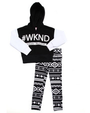 La Galleria - 2 PC #WKND CROPPED HOODY & LEGGINGS SET (7-16)