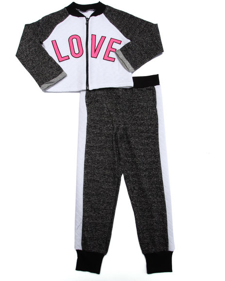 La Galleria - Girls Black 2 Pc - Quilted Love Jacket & Joggers (4-6X)