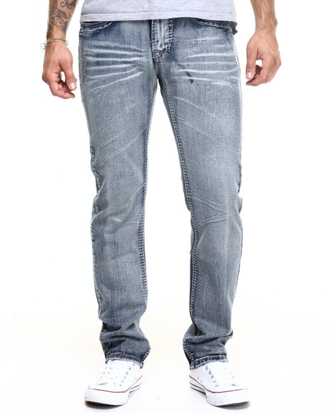 Basic Essentials - Men Medium Wash Ornate Pocket Denim Jeans