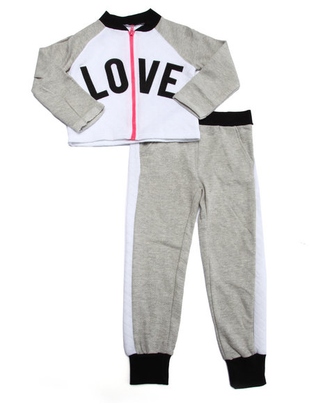 La Galleria - Girls Grey 2 Pc - Quilted Love Jacket & Joggers (4-6X)