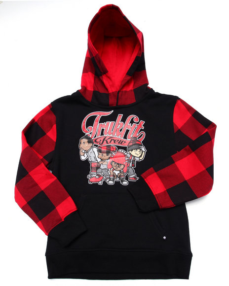 Trukfit - Boys Red Buffalo Plaid Super Crew Hoody (8-20)