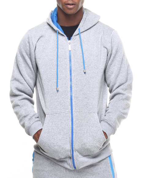 Buyers Picks - Men Blue,Grey Color Contrast Hoody