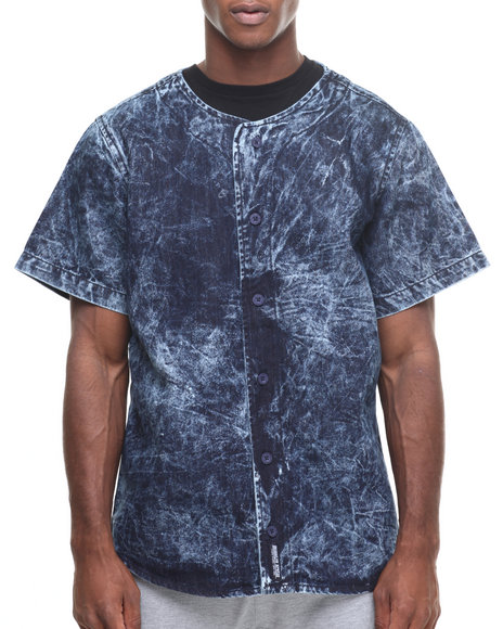 Buyers Picks - Men Blue Denim Bleached Bball Jersey
