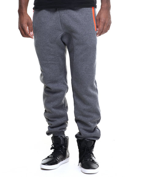Buyers Picks - Men Grey,Orange Color Contrast Jogger