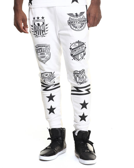 Buyers Picks - Men White Varsity Patch Print Jogger - $34.99
