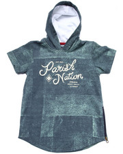 Hoodies - DENIM PRINT HOODED TOP  (4-7)