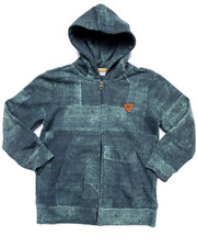 Hoodies - DENIM PRINT FULL ZIP HOODY (4-7)