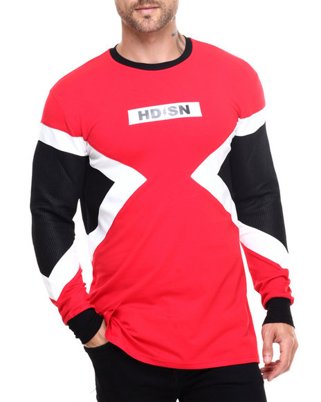 Hudson Nyc - Men Red Triangle Panel L/S Tee